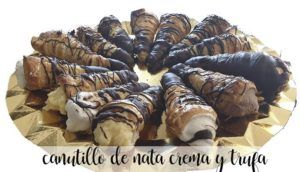 Canutillos filled with cream, pastry cream and truffle with thermomix