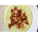 Cold melon soup with toasted shavings of Iberian ham in Thermomix
