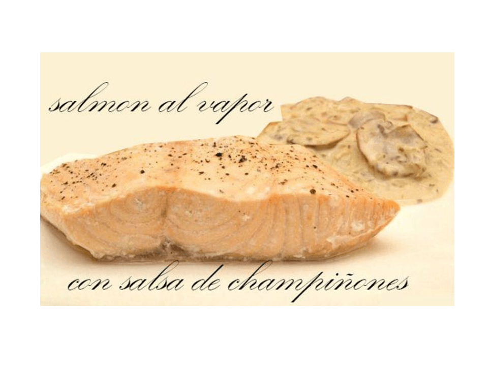 Steamed salmon with mushroom sauce with thermomix