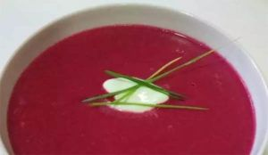 Beet Salmorejo with the Thermomix