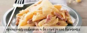 Macaroni carbonara with beer with thermomix