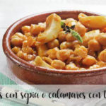 Chickpeas with cuttlefish or squid with thermomix