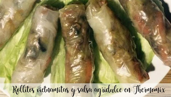 Vietnamese rolls and sweet and sour sauce in Thermomix