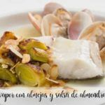 Steamed sea bass with clams and thermomix almond sauce