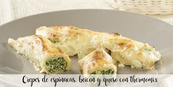 Spinach, bacon and cheese crepes with thermomix