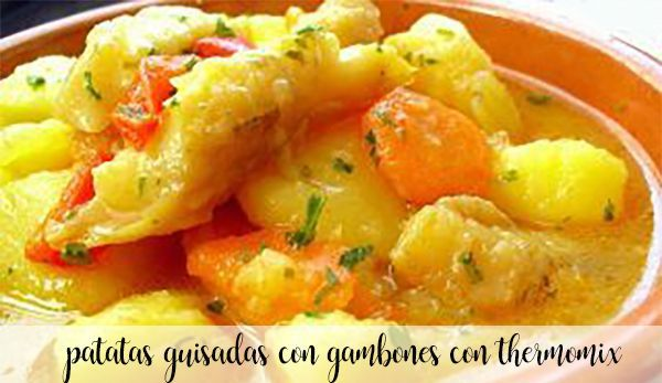 Potatoes stewed with prawns with thermomix