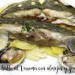 Turbot with Varoma with clams and prawns