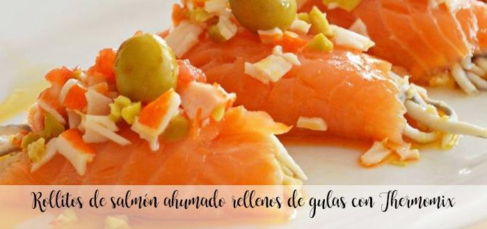 Smoked salmon rolls with eel and crab with Thermomix