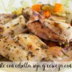Spicy rabbit with red onion and beer with Thermomix