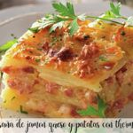 Potato, ham and cheese lasagna with thermomix