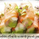 Salmon roll stuffed with fish mousse with thermomix