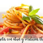 Spaghetti with tuna and vegetables with thermomix