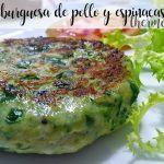 chicken and spinach burgers with thermomix