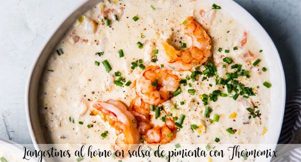 Baked prawns in pepper sauce with Thermomix