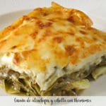 Artichoke and onion lasagna with thermomix