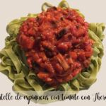 Spinach tagliatelle with tomato with Thermomix