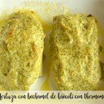 Hake with broccoli bechamel with thermomix