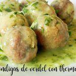 Verdigris or mackerel meatballs in green sauce with thermomix