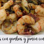 Mushrooms with prawns and ham with Thermomix