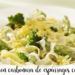 Macaroni with asparagus carbonara with thermomix
