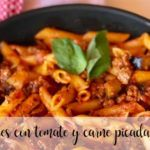 Macaroni with tomato and minced meat with thermomix
