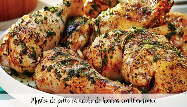 Chicken thighs in herb marinade with thermomix
