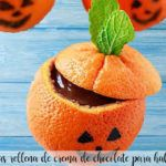Oranges stuffed with chocolate for halloween with thermomix