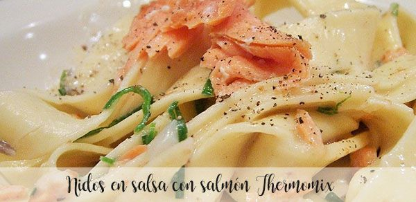 Nests in sauce with salmon with thermomix