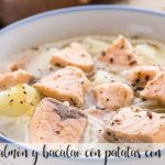 Salmon and cod soup with potatoes with thermomix